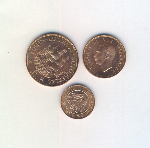 Set of 3 Proof set copper coins of 1947 - one penny, half penny, farthling
