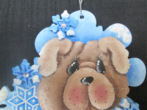 Holiday Decor The Velvet Attic Hand Painted Wooden Teddy Bear
