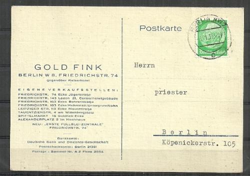 Post Cards 1935 Deutsche Reich Posted Postcard Was