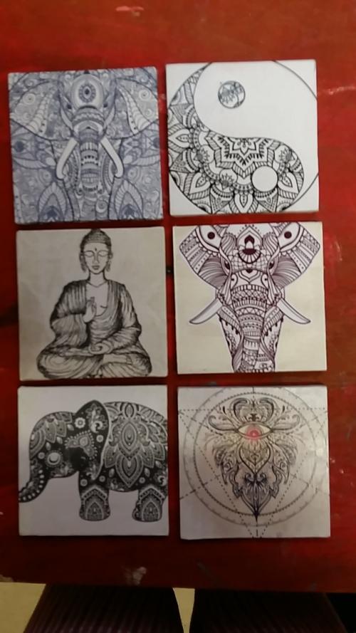 SET OF 6 WOODEN ESOTERIC COASTERS