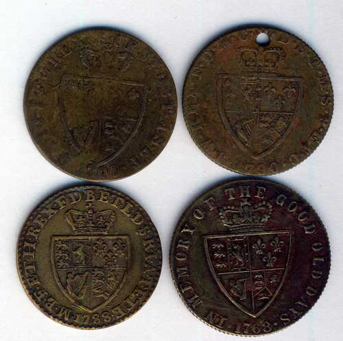 Lot of 4 different George III gambling tokens