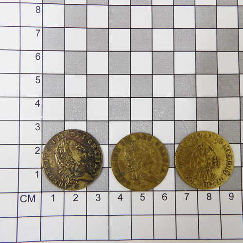 Lot of 3 different George III gambling tokens