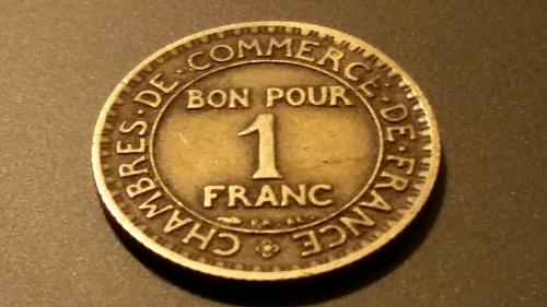 Tokens france bon pour 1 franc 1923 coin commerce for Bon pour 1 franc chambre de commerce