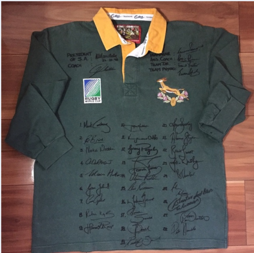 12116840f9b RUGBY WORLD CUP JERSEY 1995 SIGNED BY SPRINGBOKS AND NELSON MANDELA WITH COA