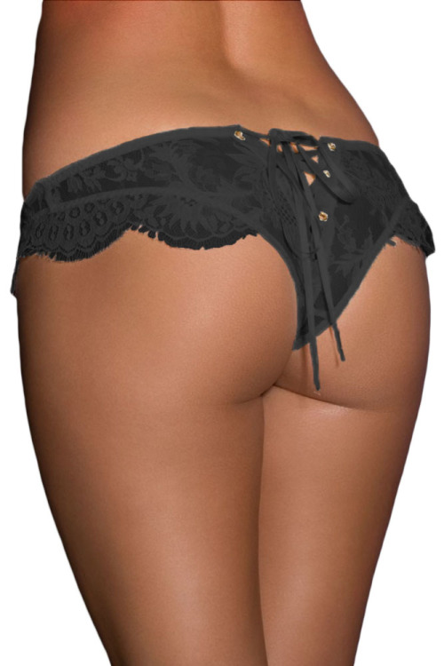 Local Stock Women s Sexy Black Lace-Up Ribbon and Lace Bridal Lingerie  Panties One Size Fits Most b0bf391ae