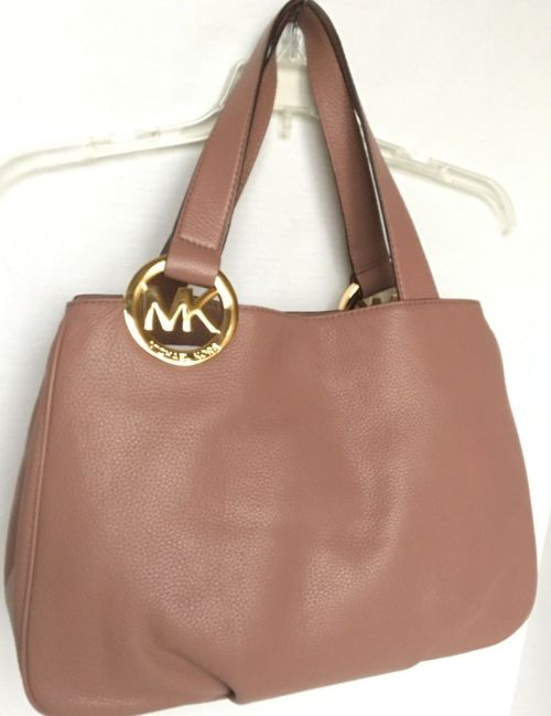 70baa06e876567 Michael Kors Black Purse With Red Roses. Michael Kors Pink Dusty Rose  Leather Quilted Hannah Satchel ...