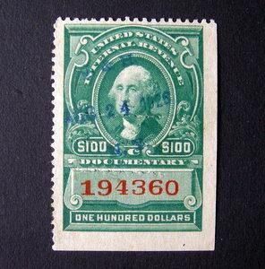 USA 100 Internal Revenue Stamp 1926