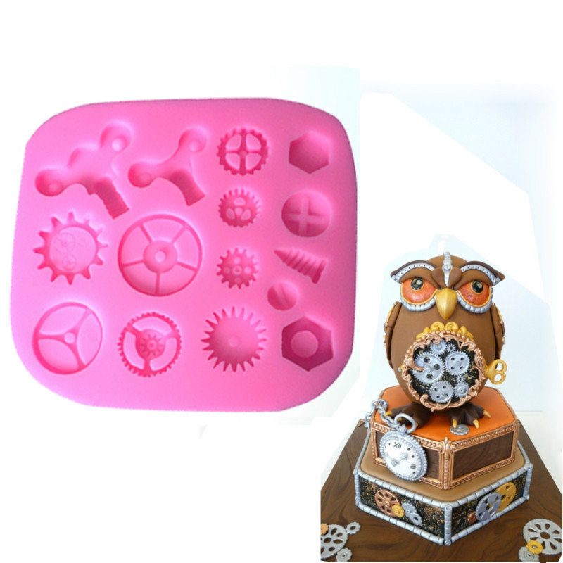 Baking Moulds Steam Punk Gears Cogs Design Mat Fondant Cake Silicone Mould Cupcake Mould