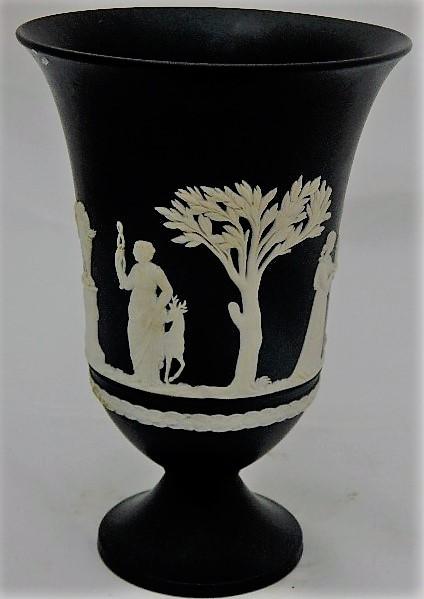 English Porcelain Pretty Black Wedgwood Basalt Vase Was Listed For