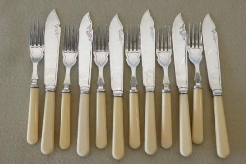 Silver A Stunning Vintage Bone Handle Style Quot Fish Knife