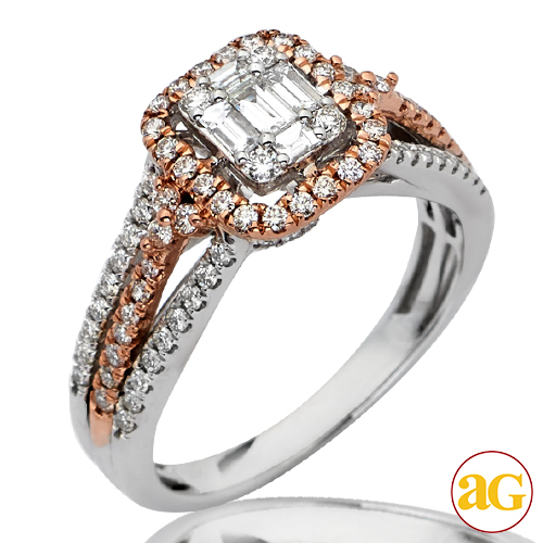 Engagement Rings IN STOCK 86CT DIAMOND BRIDAL ENGAGEMENT TWO TONE WHI