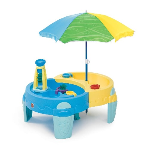 sand water toys colourful dual sand and water table with umbrella for hours of fun in the. Black Bedroom Furniture Sets. Home Design Ideas