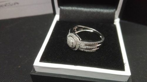 engagement rings american swiss 9ct white gold ring with 85 small