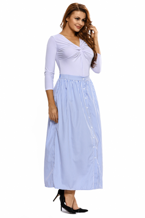 skirts blue and white striped front button maxi skirt