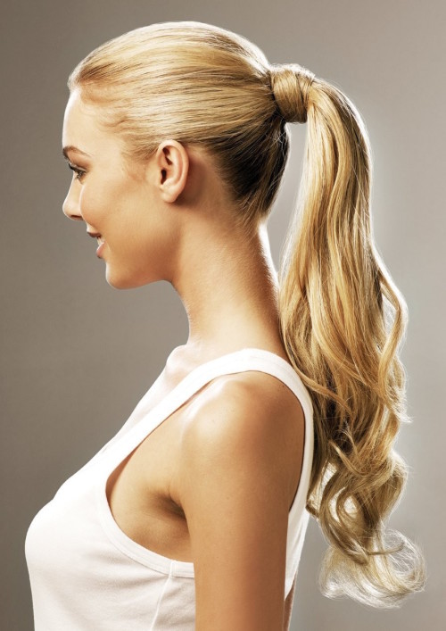 Synthetic Hair Clip On In Ponytail Wavy Light Blonde