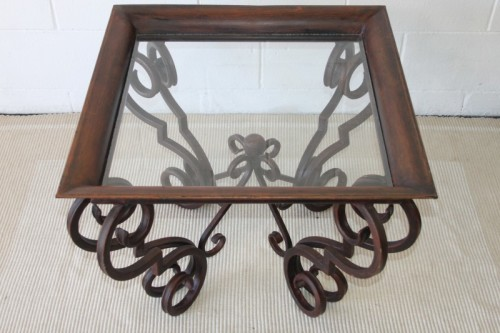 Tables a remarkable wrought iron coffee table with a for Glass coffee table wrought iron legs