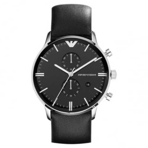 b098d791b16 The Armani AR0397 watch has a black dial with a multifunction feature and  date display window.