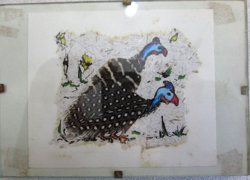 Small Framed Guinea Fowl Picture Made With Real Feathers - 15cm/10,5cm