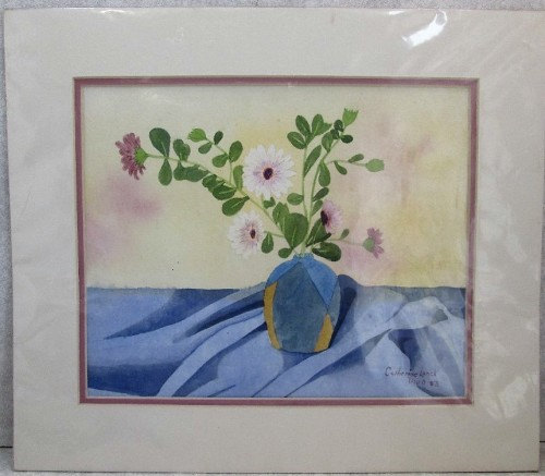 Watercolour/Lithograph(?) By Catherine Leach, Framed In Cardboard, Sealed In Plastic - 28cm/23cm