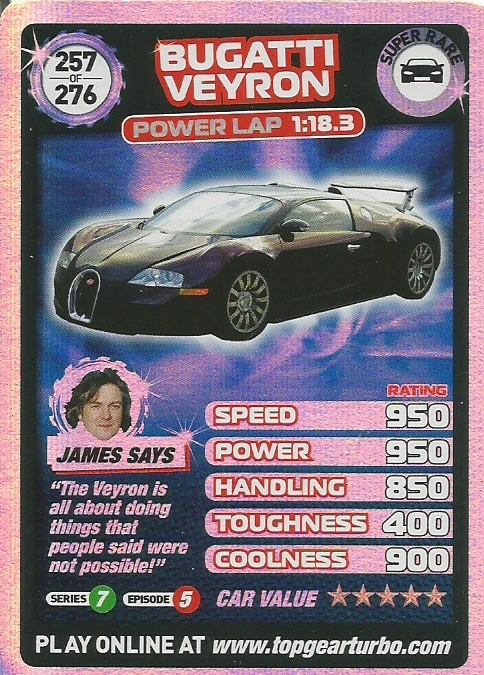 Trading cards top gear turbo challenge bugatti veyron for Best cards for 2015