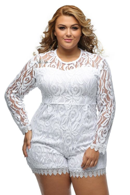 Playsuits U0026 Jumpsuits - ***PLUS SIZE*** LONG SLEEVE WHITE LACE ROMPER - 2XL/3XL Was Listed For ...