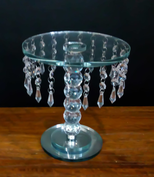Cake Stand Home Decor : Other Home Decor - Glass Cake Stand with Hanging Crystals ...