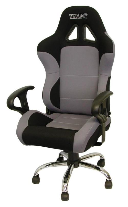 Reclinable Racing Office Chair   Grey
