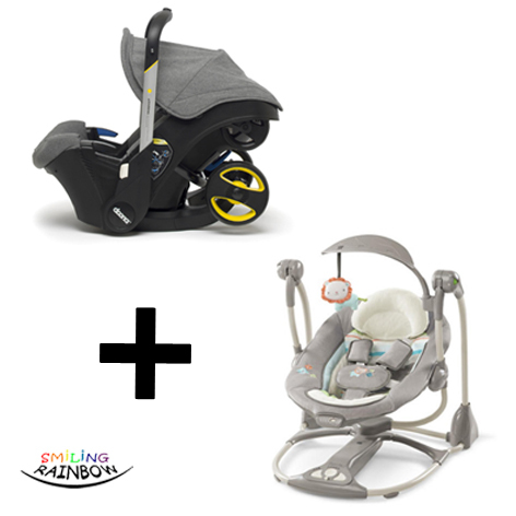 Doona Baby Car Seat Storm Grey Ingenuity ConvertMe Swing 2 Portable