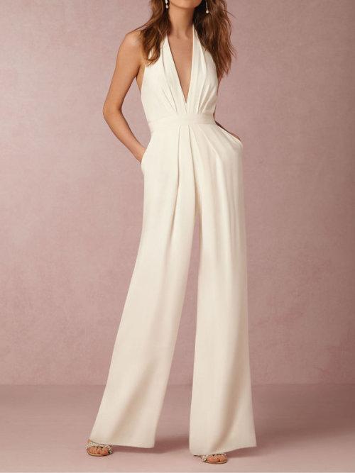 fda035776b0 Playsuits   Jumpsuits - Formal White Elegant Halter Evening ...