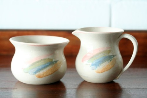 South African Porcelain - Gorgeous hand painted pottery stoneware milk jug & sugar bowl set in ...