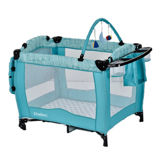 Camp Cots Chelino Siesta Baby Camp Cot Torquoise Leaf