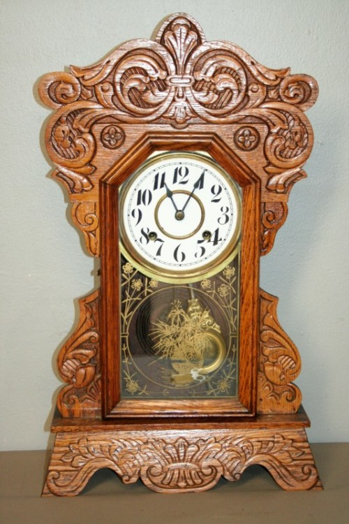 Mantel clocks a beautiful rare hand carved antique ansonia gingerbread shelf mantle clock - Antique clock designs for your home ...