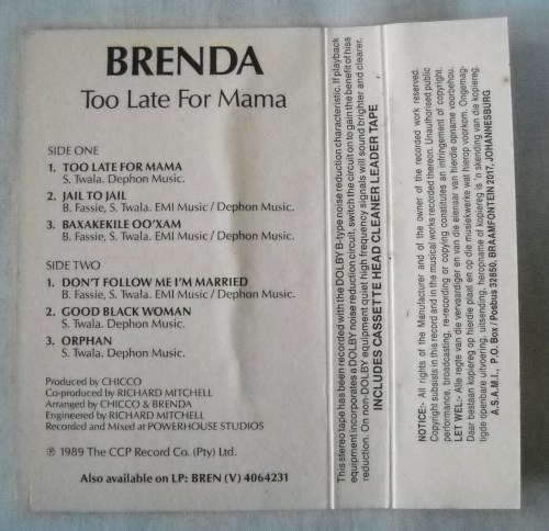 International & World - BRENDA FASSIE - TOO LATE FOR MAMA - CASSETTE