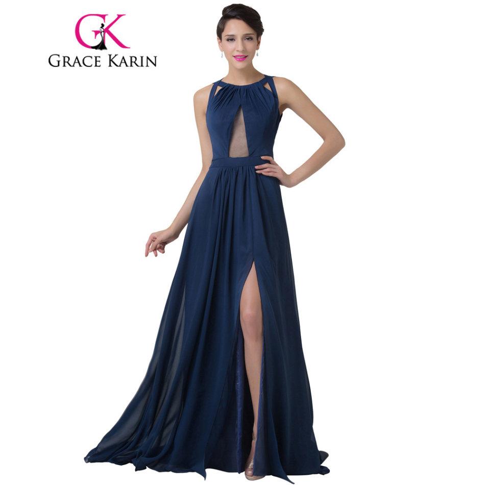 Formal Dresses - Authentic Designer Navy Blue Backless Split Long ...