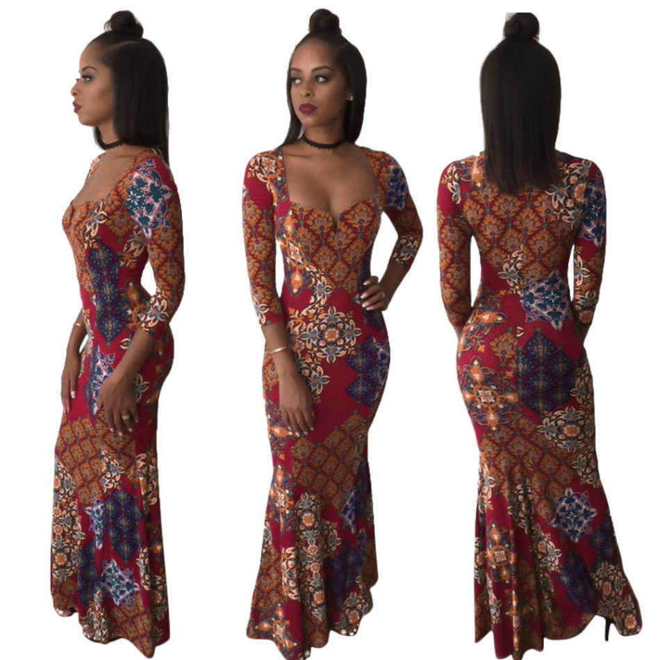 Formal Dresses - Maxi african floral print long sleeve evening ...
