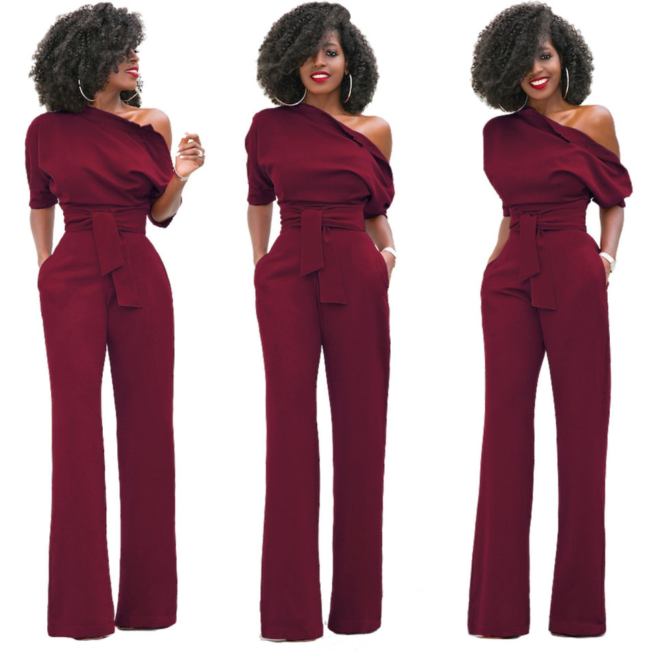 661d364fb069 Playsuits   Jumpsuits - Wine Red One Shoulder Elegant Jumpsuit was ...