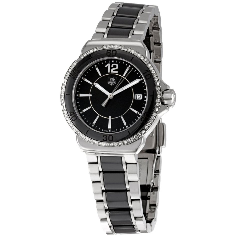 Women 39 s watches tag heuer formula 1 diamonds ceramic black stainless steel ladies watch for Tag heuer women