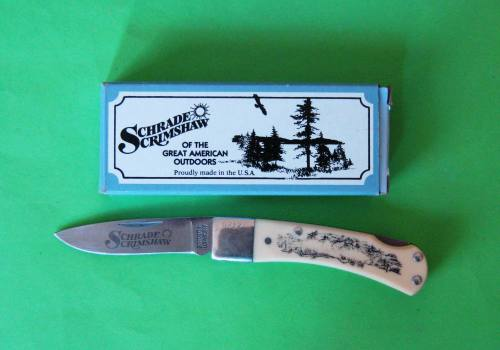 SCHRADE SCRIMSHAW LOCKBLADE STAINLESS STEEL HIGH QUALITY POCKET KNIFE FROM  USA