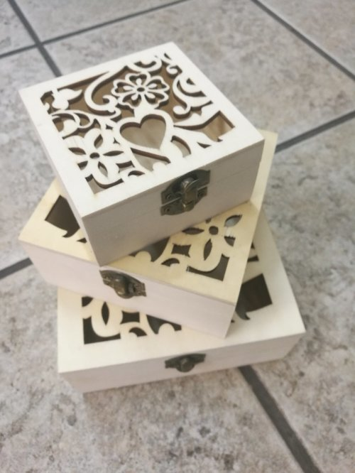 Other Flowers Celebrations Gifts 3pcs Wooden Gift Boxes Wedding