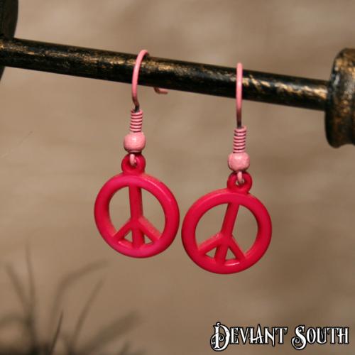 Peace Earring Dark Pink