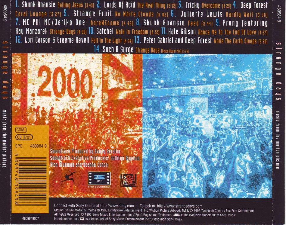 5e5fc31939 Soundtrack & Theatre - STRANGE DAYS - Soundtrack 480984 9 (FREE BULK ...