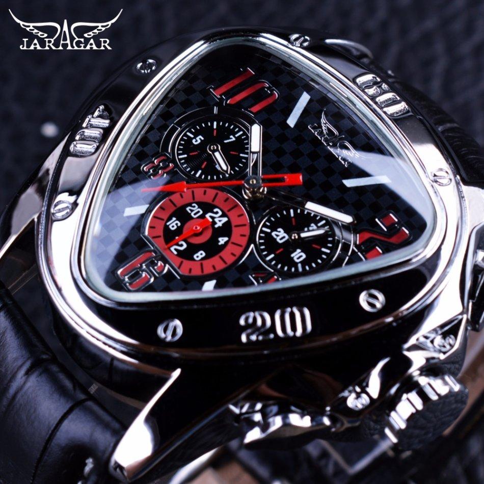 f1a4696e09e Jaragar Sport Racing Design Mens Automatic Mechanical Triangle Watches  Genuine Leather Strap