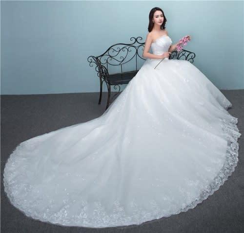 Wedding Dresses - *WILD ROSE* *WHITE* Strapless Long Train Wedding ...