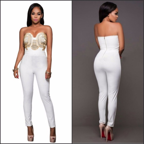 Playsuits Jumpsuits Wild Rose Sexy White Gold Studded Jumpsuit