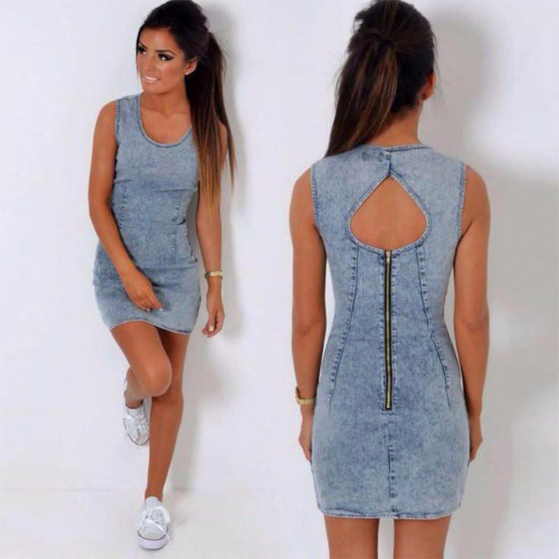 6583e0481fa Casual Dresses - Sexy Denim Sleeveless Keyhole Back Bodycon Dress ...