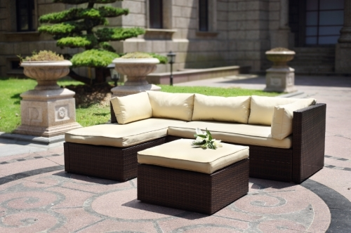 Hazlo Cadenza Wicker Outdoor Sectional Living Sofa Patio Set