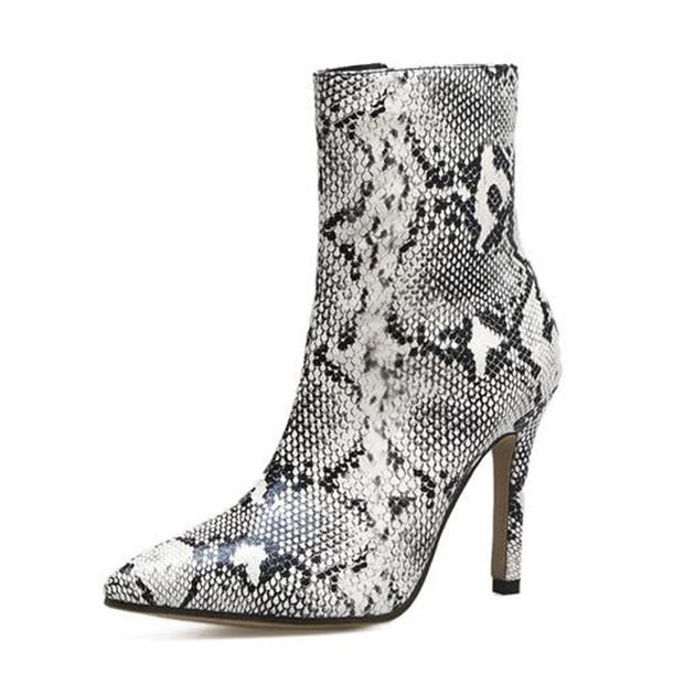 Boots Boots Ladies Boots Grey Boots Stiletto Boots Snakeskin Boots