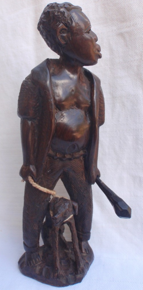 Ethnic tribal art vintage african hunter with dog