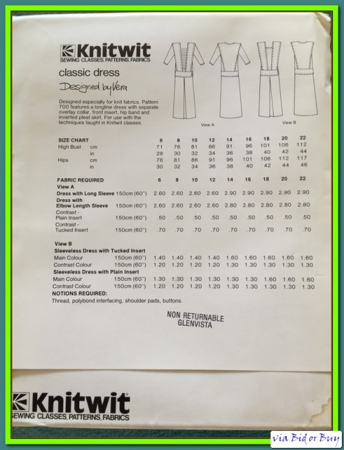 Other Sewing Accessories - COMPLETE - KNITWIT PATTERN 700: CLASSIC ...