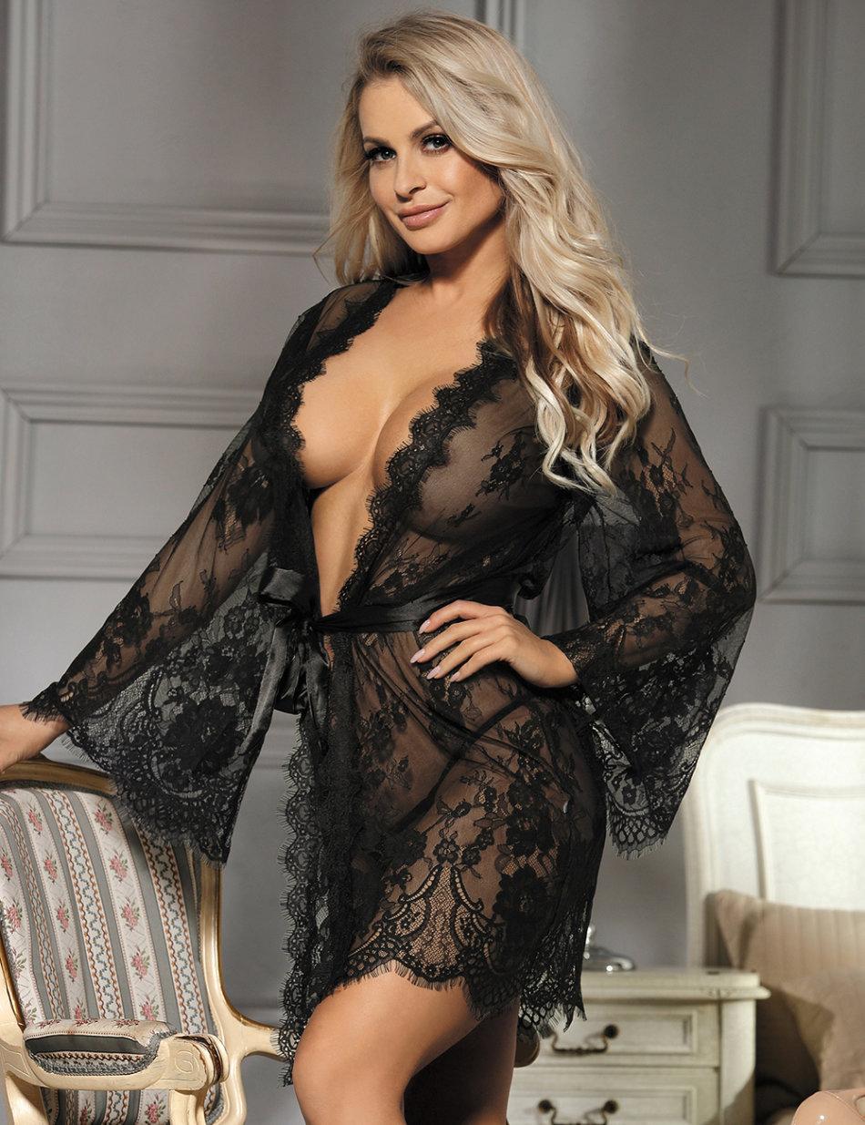 Baby Dolls Teddies Black Lingerie Gown Sleepwear Lace Plus Size